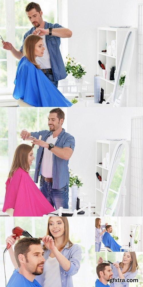 Woman and man having a haircut