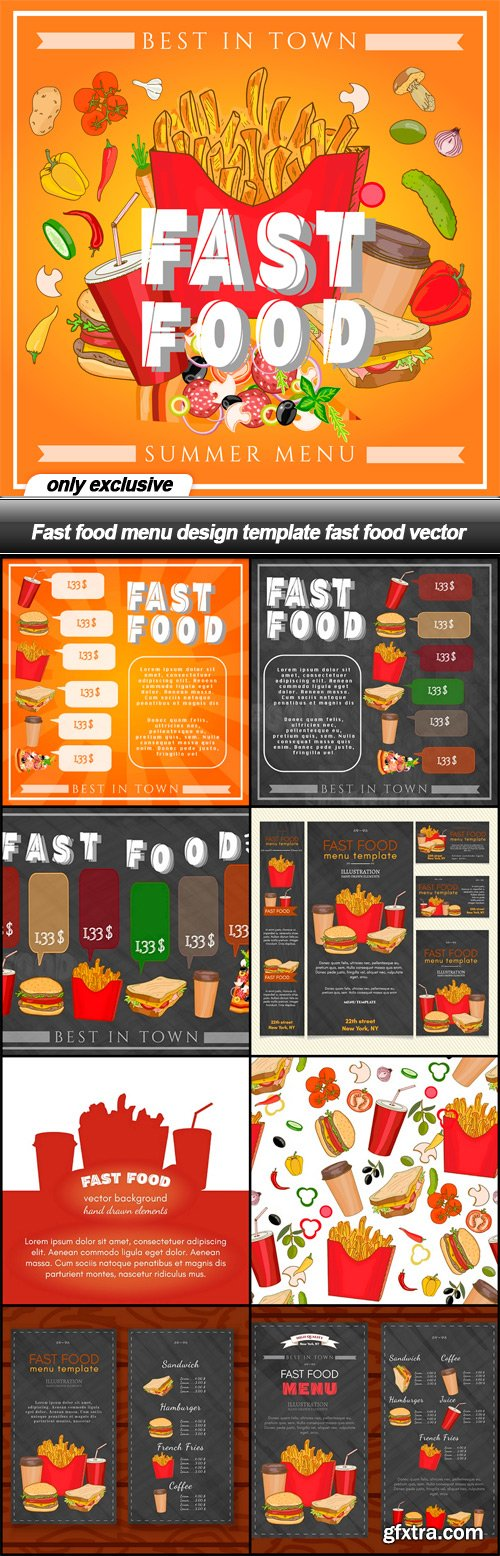 fast food menu design template fast food vector 9 eps vector