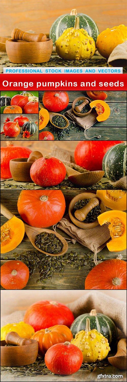 Orange pumpkins and seeds - 7 UHQ JPEG