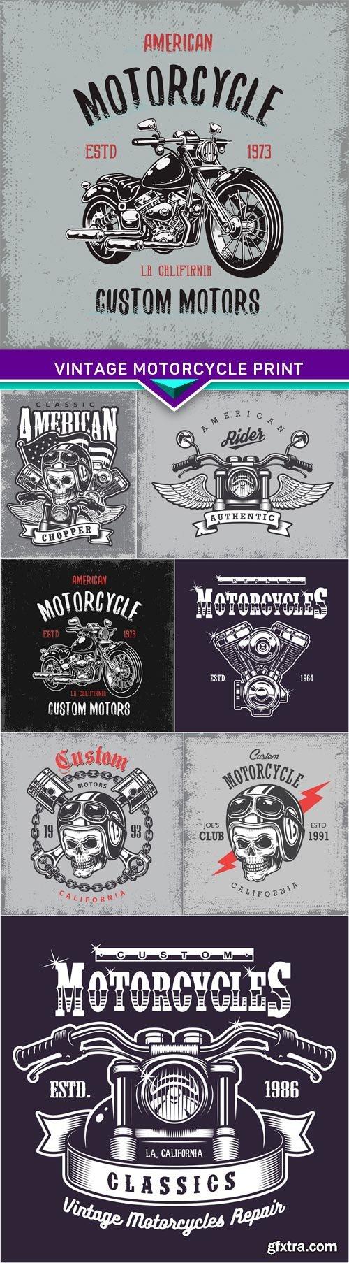 Vintage motorcycle print on grunge background 8X EPS