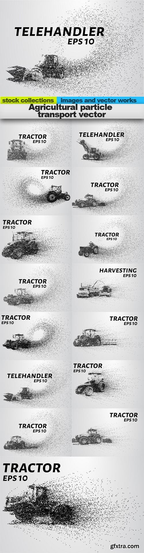 Agricultural particle transport vector, 15 x EPS