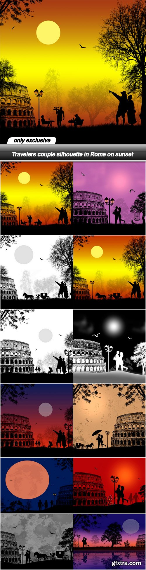 Travelers couple silhouette in Rome on sunset - 12 EPS