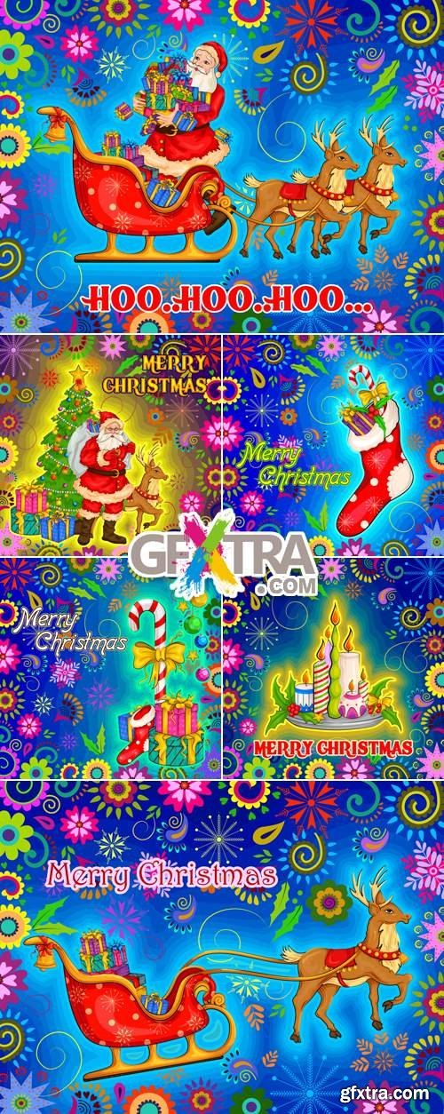 Colorful Christmas Postcards Vector