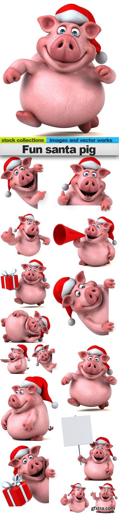 Fun santa pig, 15 x UHQ JPEG