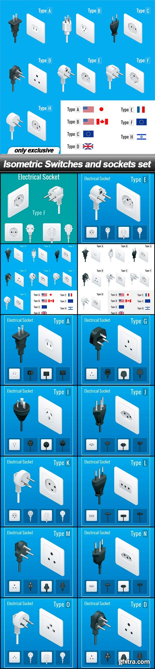 Isometric Switches and sockets set - 14 EPS