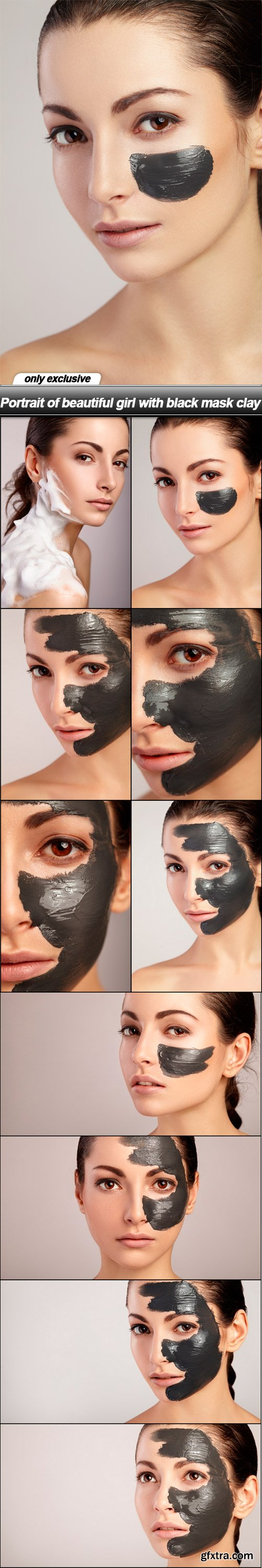 Portrait of beautiful girl with black mask clay - 10 UHQ JPEG