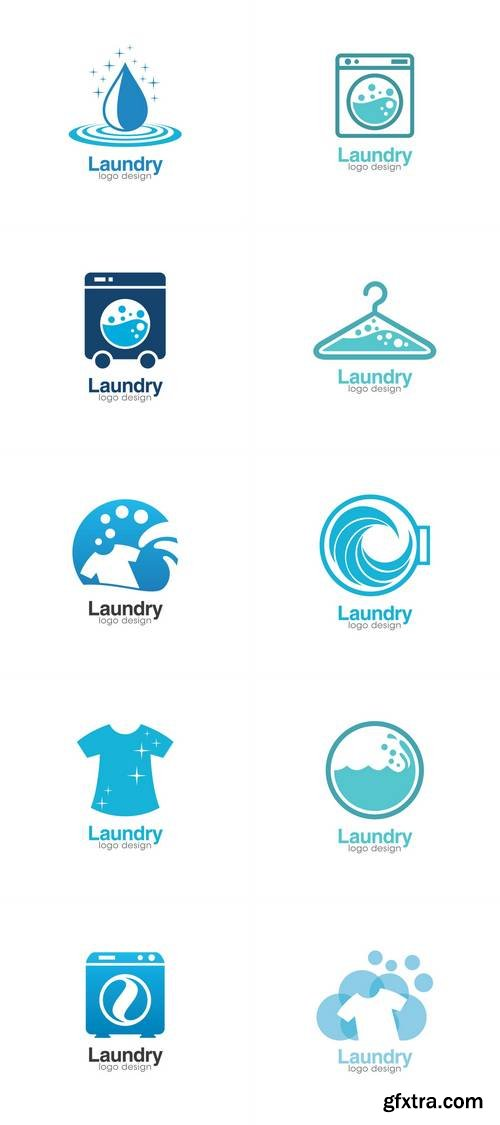 Laundry Creative Concept Logo Design Template