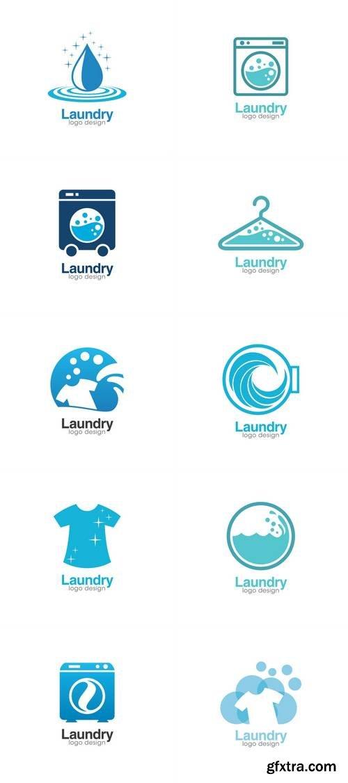 Laundry Creative Concept Logo Design Template