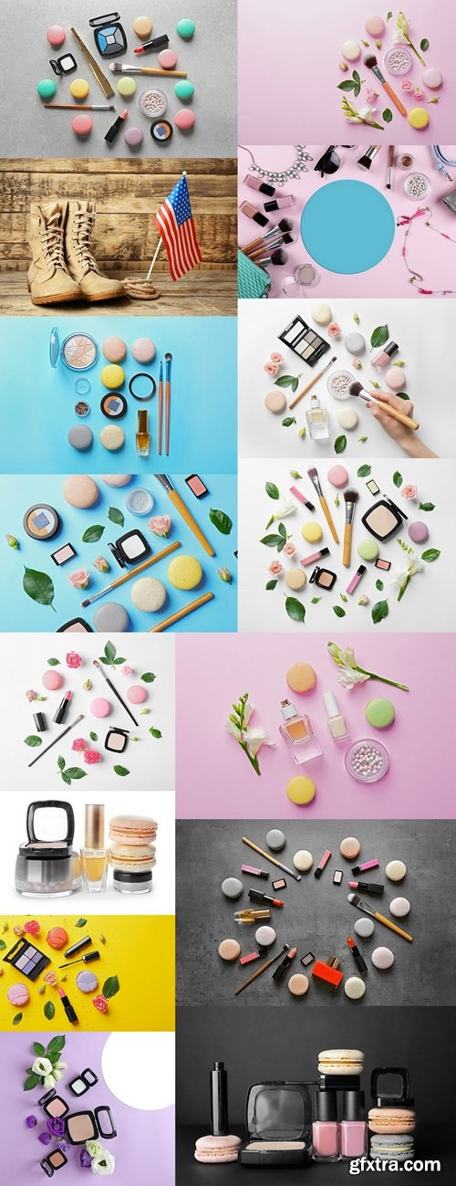 Mineral powder with brush, macaroons and beautiful flowers on pink background