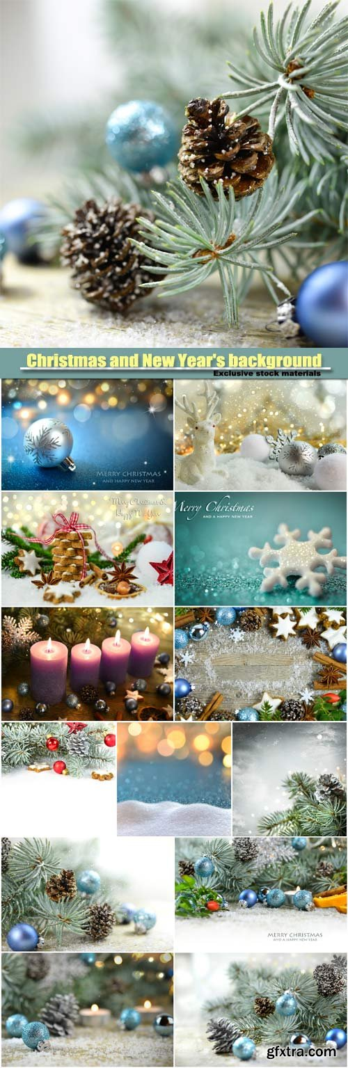 Christmas and New Year background, Christmas tree with pine cones and Christmas balls, sparkling candles