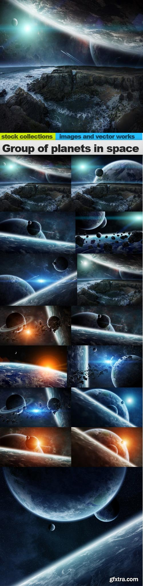 Group of planets in space, 15 x UHQ JPEG