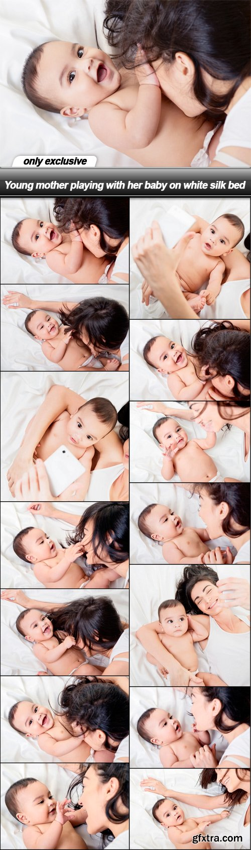 Young mother playing with her baby on white silk bed - 14 UHQ JPEG