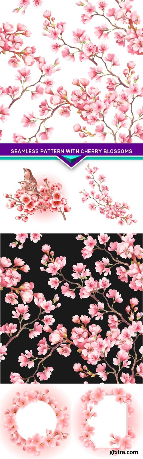 Seamless pattern with cherry blossoms 6X JPEG