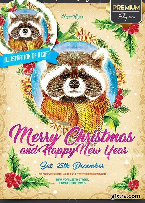 Merry Christmas and Happy New Year V5 Flyer PSD Template + Facebook Cover