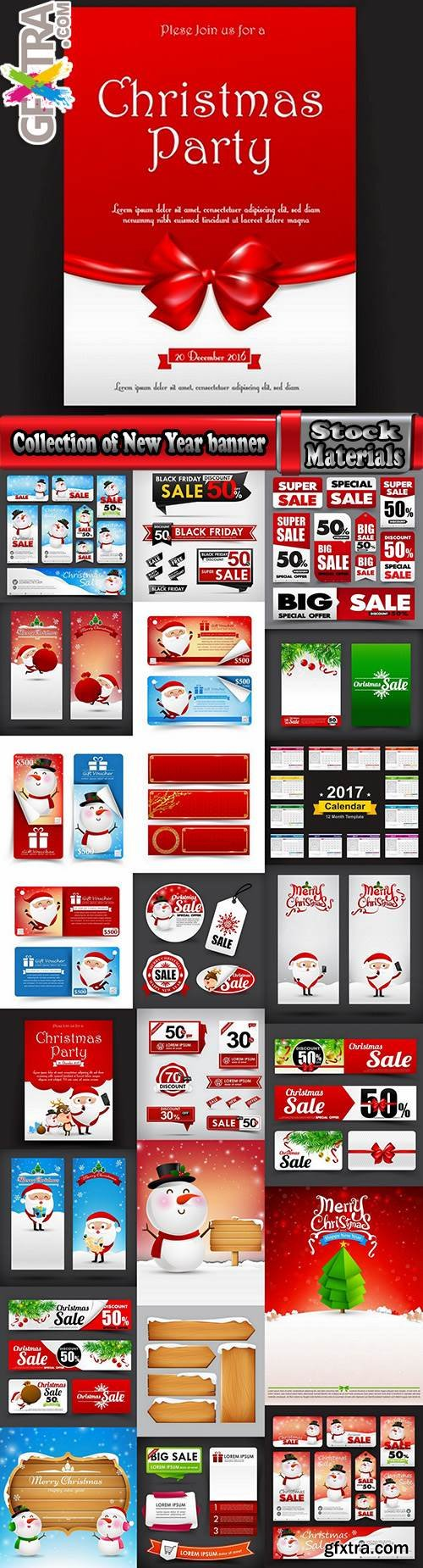 Collection of New Year banner Christmas flyer sticker label discount sale 24 EPS
