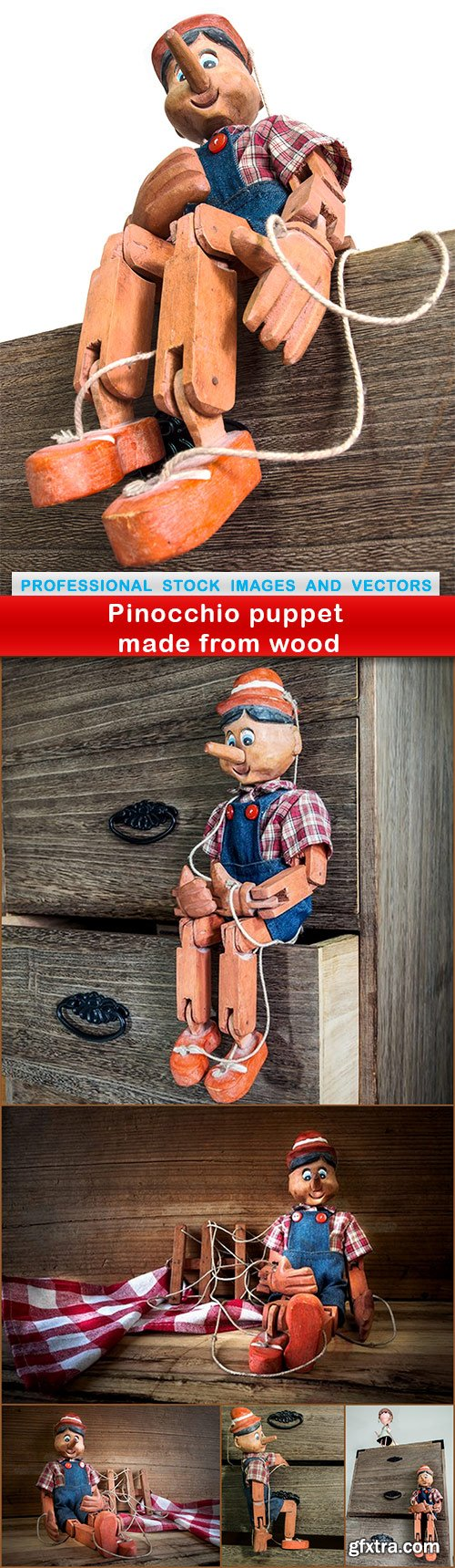 Pinocchio puppet made from wood - 6 UHQ JPEG