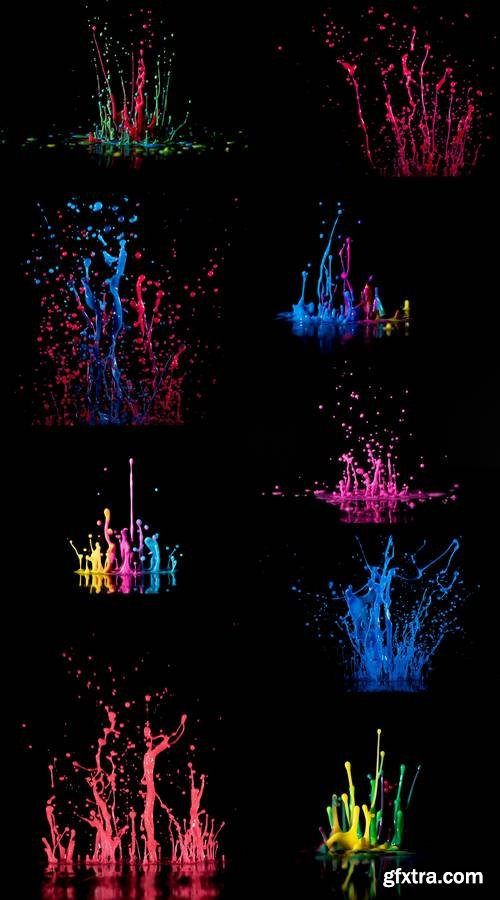 Abstract Sculptures of Colorful Splashes of Paint