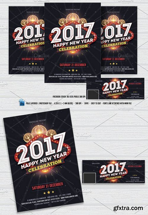CM - New Year Party Flyer & FB Cover 1020364