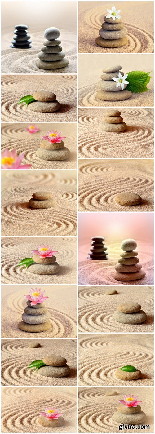 Spa concept & Flower and stones - 16xUHQ JPEG Photo Stock