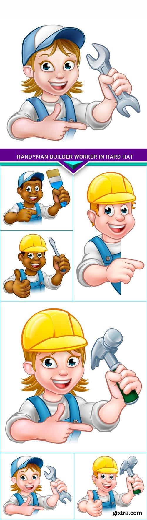 Handyman Builder Worker in Hard Hat 6X EPS