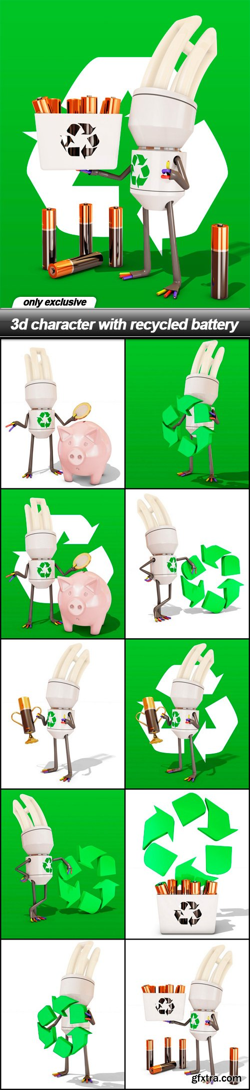 3d character with recycled battery - 11 UHQ JPEG