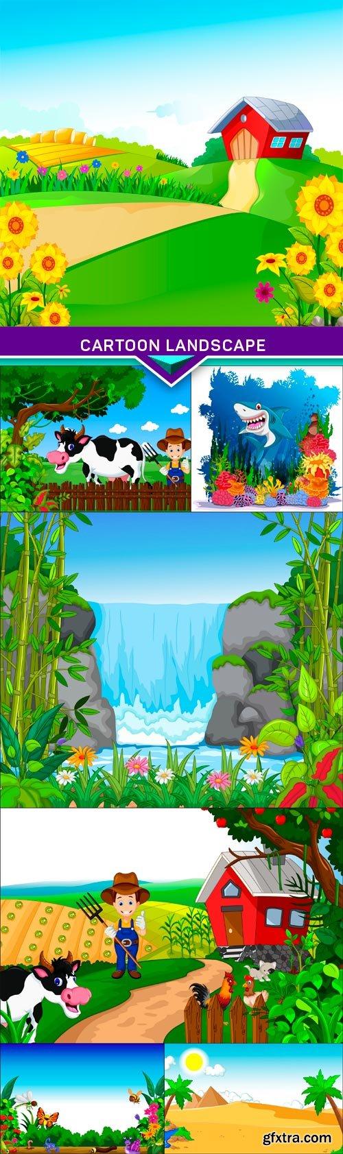Cartoon landscape 7X EPS