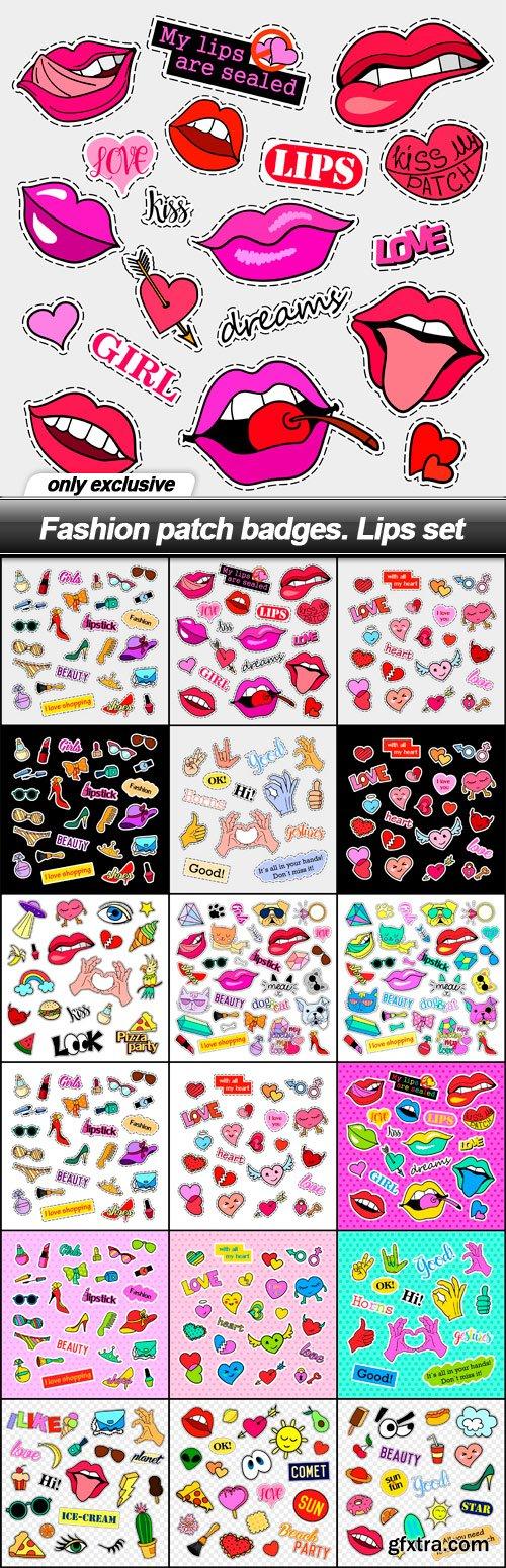 Fashion patch badges. Lips set - 18 EPS