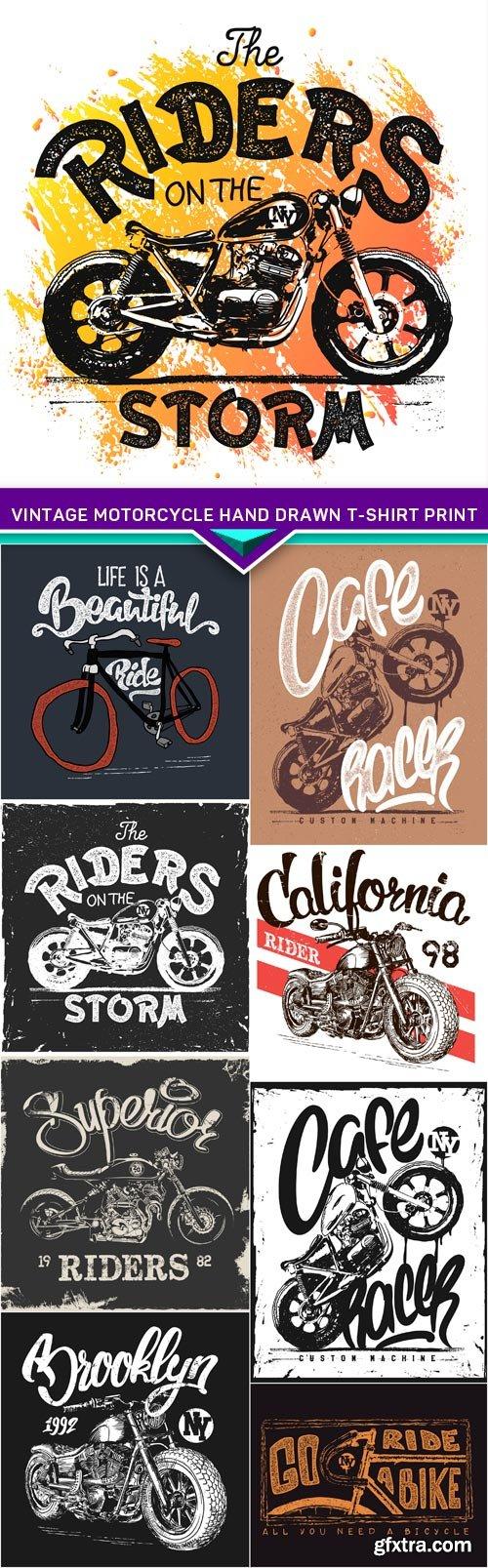 Vintage Motorcycle hand drawn t-shirt print 9X EPS