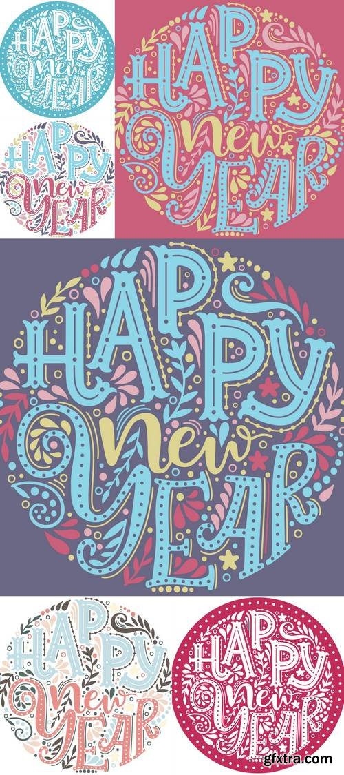 Happy New Year - Hand Drawn Lettering in Circle
