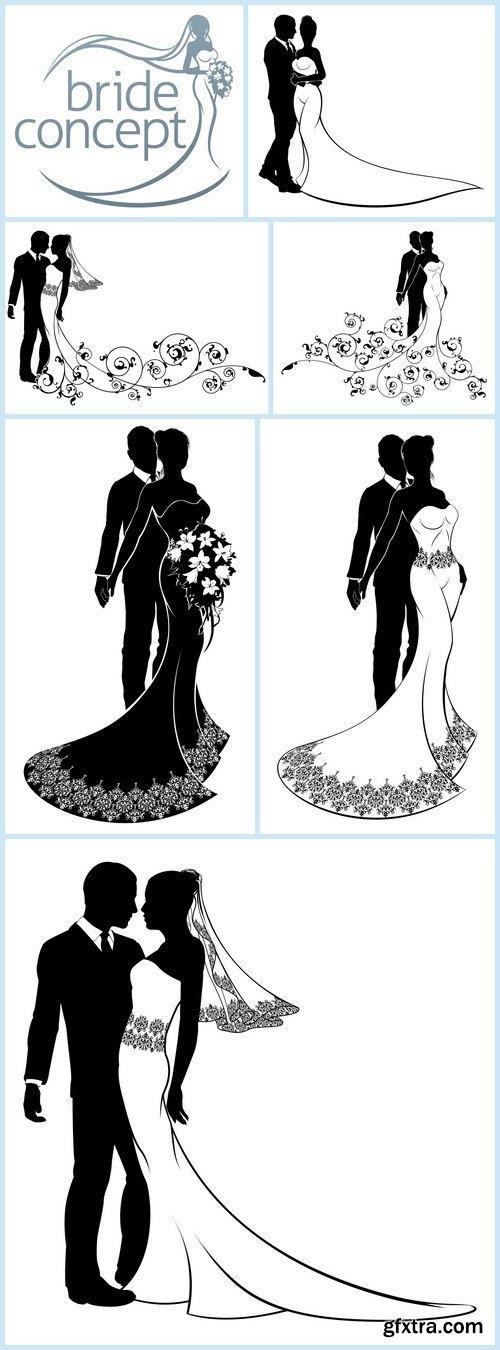 Bride and Groom Couple Wedding Silhouette 7X EPS