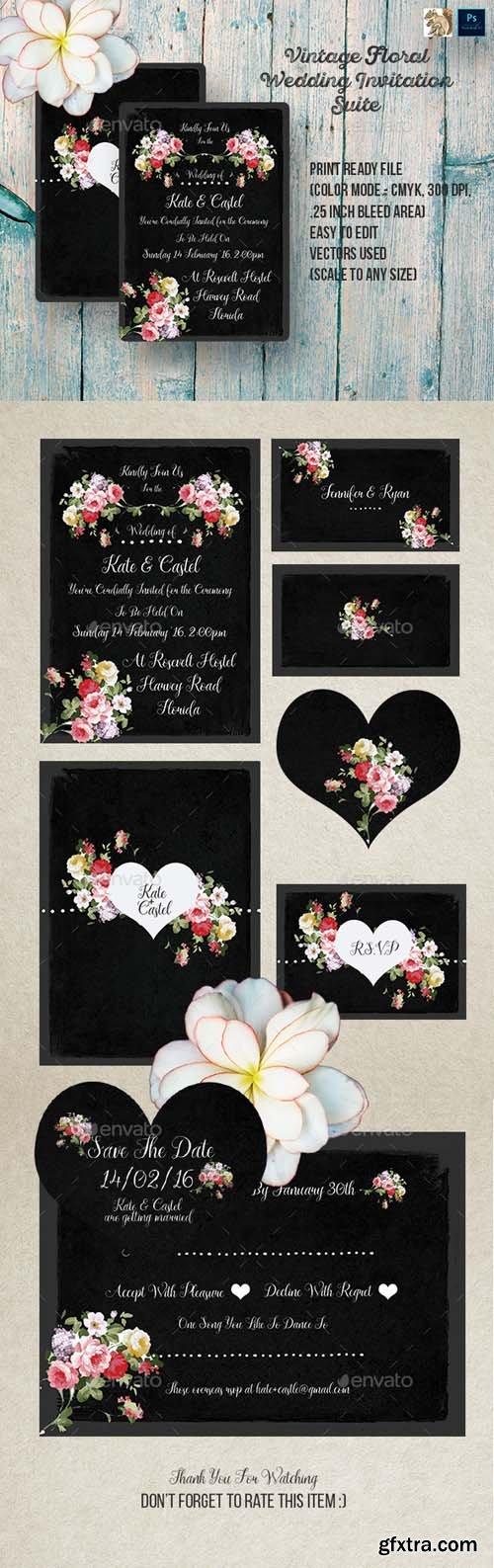 GR - Vintage Floral Wedding Invitation Suite 14447556