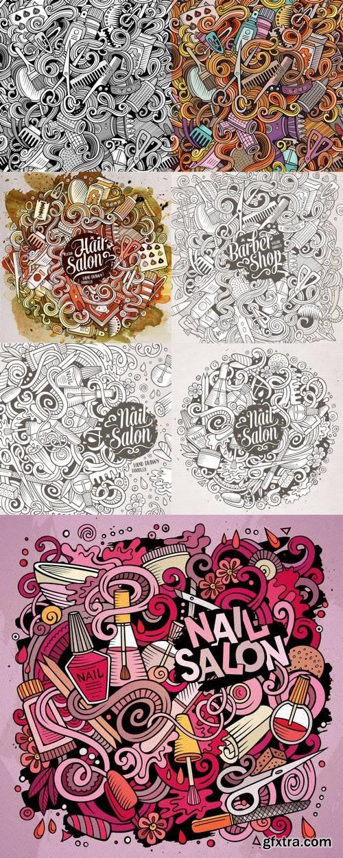 Cartoon Doodles Nail Salon Illustration