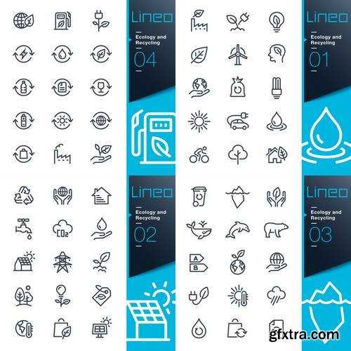 Ecology and Recycling Line Icons