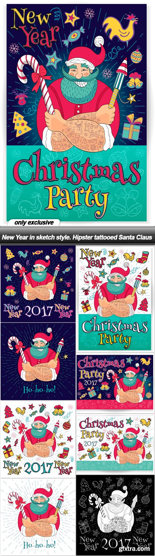 New Year in sketch style. Hipster tattooed Santa Claus - 9 EPS