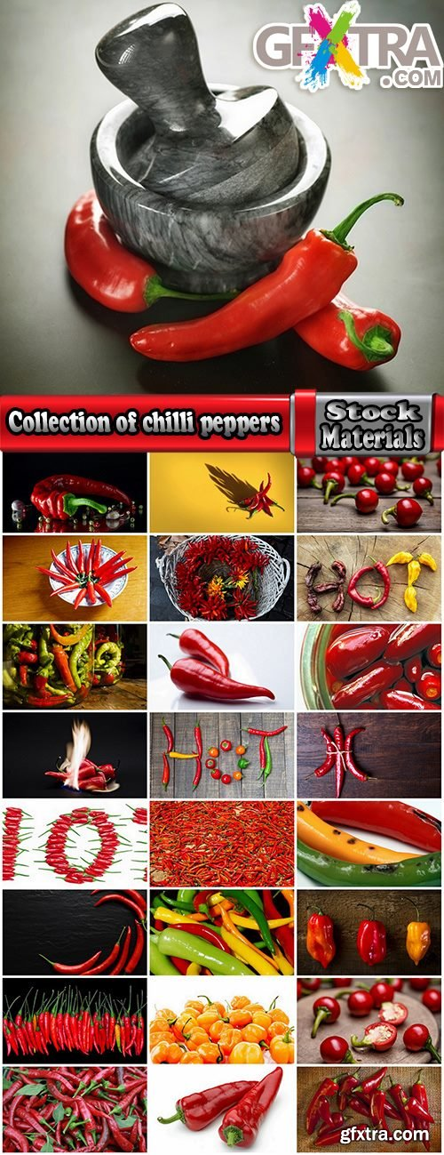 Collection of chilli peppers Bulgarian red yellow spices 25 HQ Jpeg