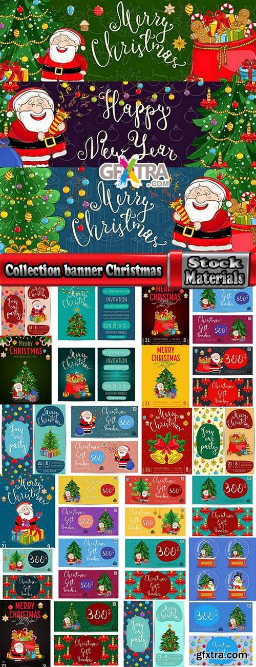Collection banner Christmas New Year Santa Claus invitation card for a children's holiday 2-25 EPS
