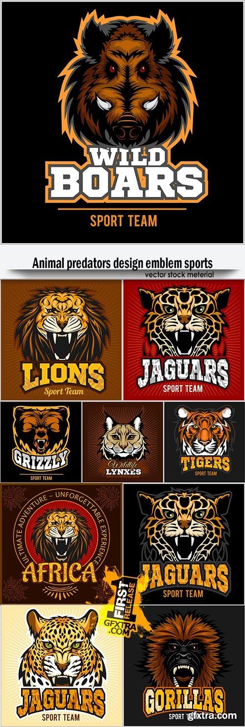 Animal predators design emblem sports