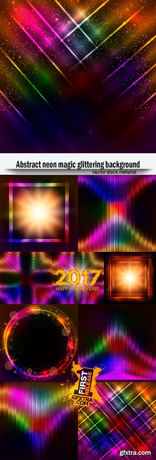 Abstract neon magic glittering background