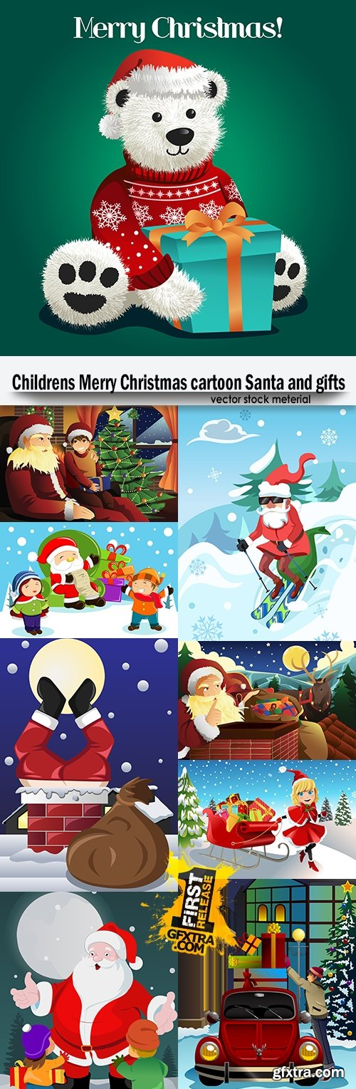 Childrens Merry Christmas cartoon Santa and gifts