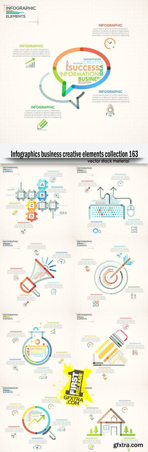Infographics business creative elements collection 163