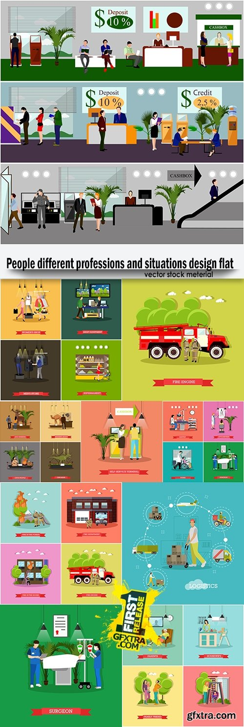 People different professions and situations design flat
