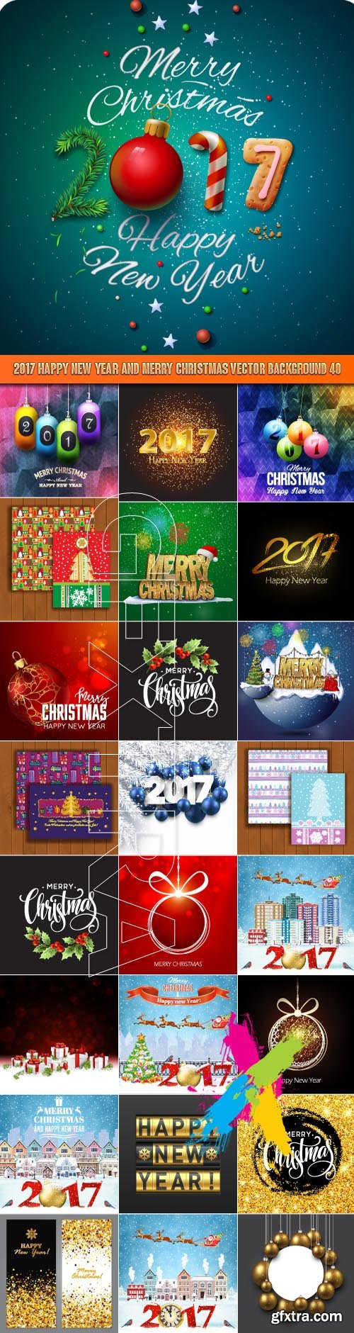 2017 Happy New Year and Merry Christmas vector background 40