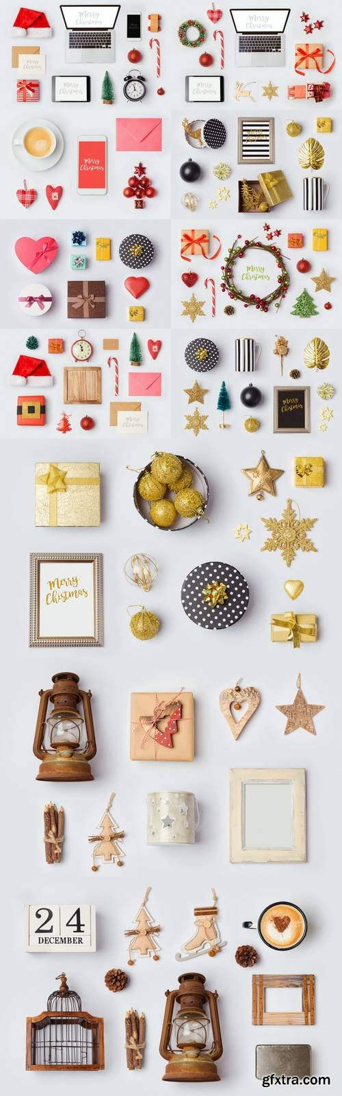 Christmas Rustic Ornaments and Objects for Mock Up Template Design