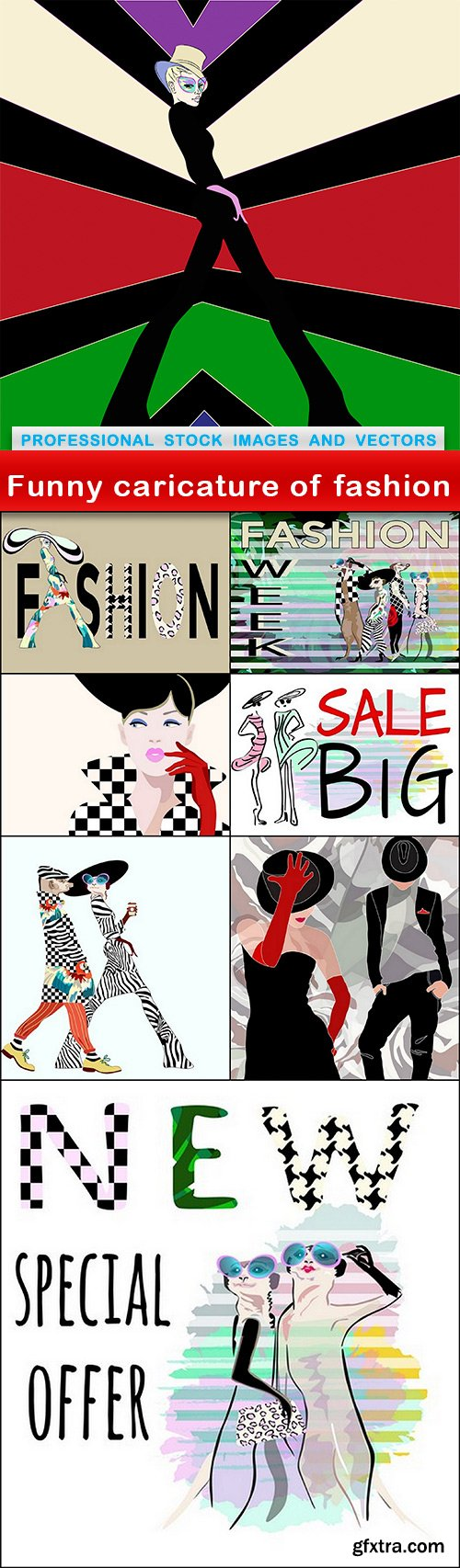 Funny caricature of fashion - 8 EPS