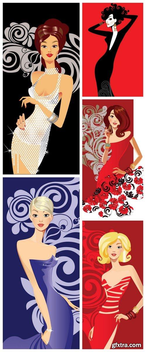 Fashion girl on decorative background 5X EPS