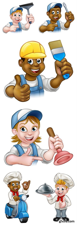 Handyman Builder Worker in Hard Hat #2 6X EPS