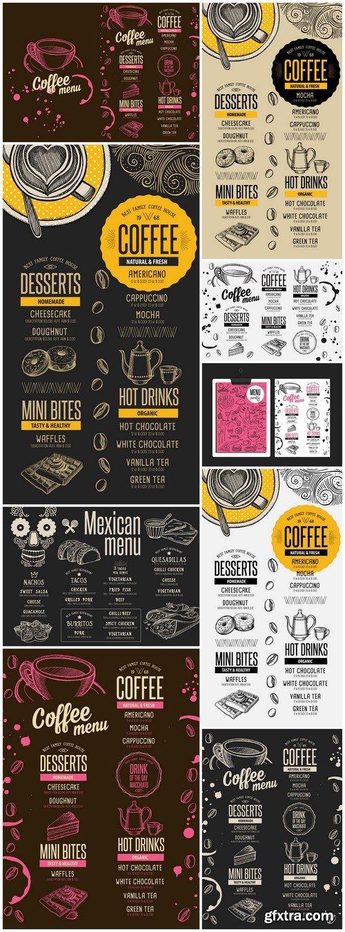 Menu coffee restaurant, beverage template 9X EPS