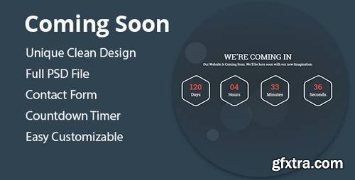 Coming – HTML5 Responsive Coming Soon Template