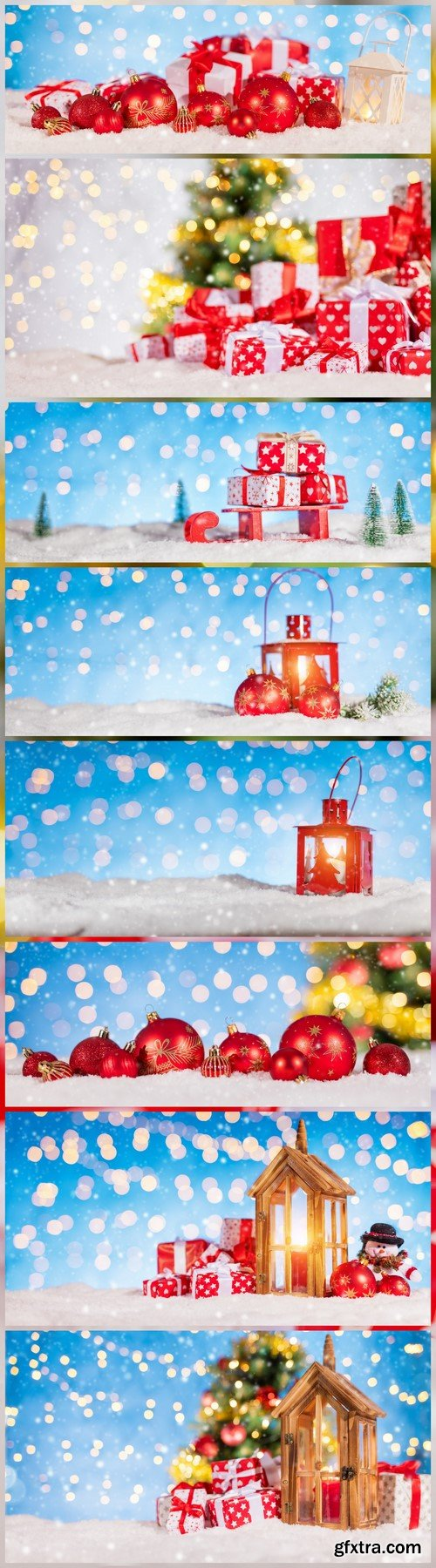 Christmas background with red decoration 8X JPEG
