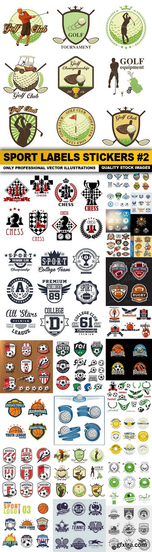 Sport Labels Stickers #2 - 25 Vector